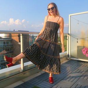 Zara embroidered tiered maxi dress
